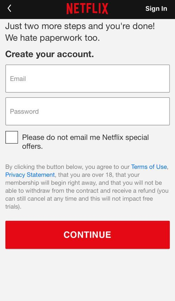 Netflix Mobile App GDPR Compliance Privacy Policy